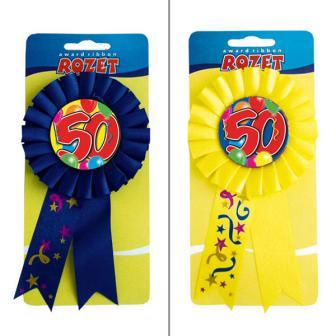 Rosette anniversaire 50 ans 15 cm