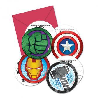 """6 Cartons d´invitations ronds """"Avengers"""" avec enveloppes"""