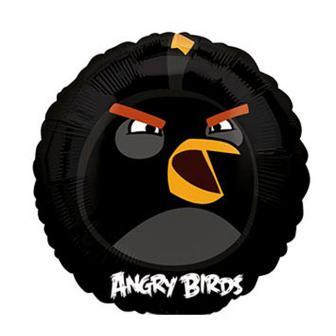 "Ballon rond en alu ""Angry Birds - oiseau noir"" 23 cm"
