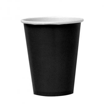 8 gobelets en carton unis 266 ml - noir