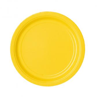8 assiettes en carton unies 22,8 cm - jaune
