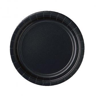 8 assiettes en carton unies 22,8 cm - noir