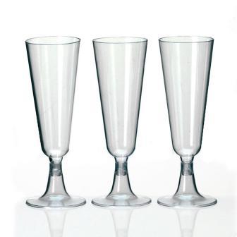 6 flûtes à champagne en plastique