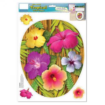 """Déco autocollante pour WC """"Fleur d'hibiscus"""" 4 pcs"""