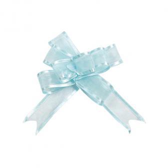 5 noeuds à tirer unicolores Organdi - bleu clair
