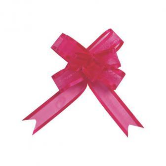 5 noeuds à tirer unicolores Organdi - rose vif