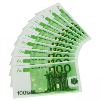 """10 serviettes en papier """"Billet de 100 euros"""""""
