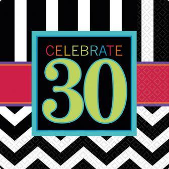 """16 serviettes """"30 ans - Zigzag"""""""
