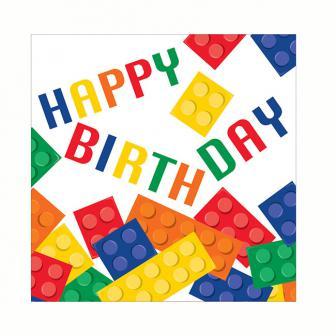 """16 serviettes """"Briques colorées"""" - Happy Birthday"""