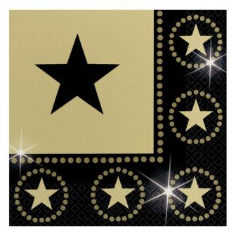 """16 serviettes """"Golden Stars"""" 32,7 cm"""