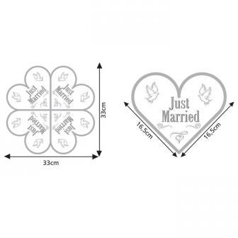 """20 serviettes en papier en forme de cœur """"Just Married"""""""