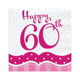 "18 serviettes ""Pretty Pink"" Happy 60th!"