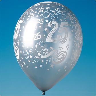 """5 ballons argentés """"25"""""""