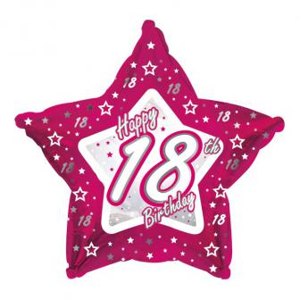 "Ballon étoile en alu Happy Birthday ""Pretty Pink 18"" 45 cm"