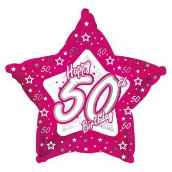 "Ballon étoile en alu Happy Birthday ""Pretty Pink 50"" 45 cm"