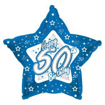 "Ballon-étoile en alu Happy Birthday ""Pretty Blue 50"" 45 cm"