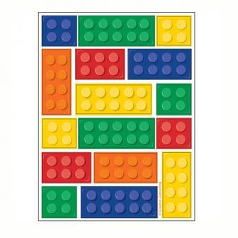 """4 planches d'autocollants """"Briques colorées"""""""
