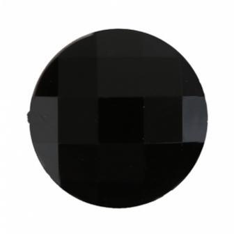 "6 gros strass ""Diamant rond"" - noir"
