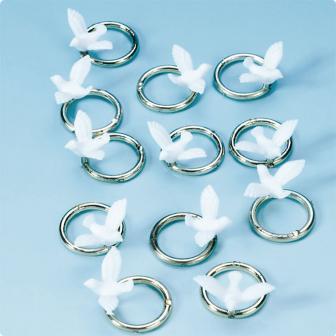 """12 décos de table """"Colombe blanche avec anneau en argent"""""""