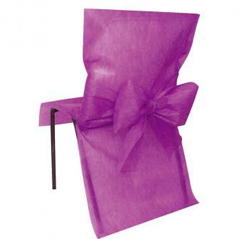 10 housses de chaise avec noeud en intissé - lilas