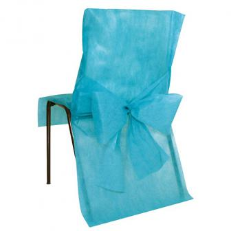 10 housses de chaise avec noeud en intissé - turquoise