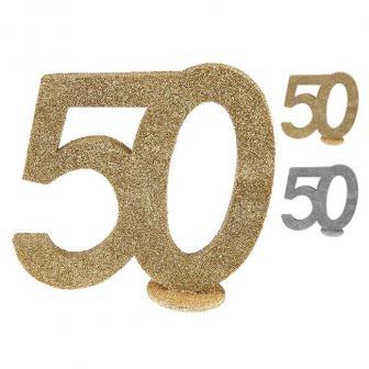 """Déco de table """"50 & paillettes"""" 10 cm"""