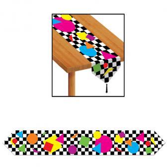 """Chemin de table """"Échiquier & formes colorées"""" 1,8 m"""