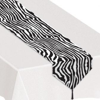 """Chemin de table """"Look zèbre"""" avec glands 180 cm"""