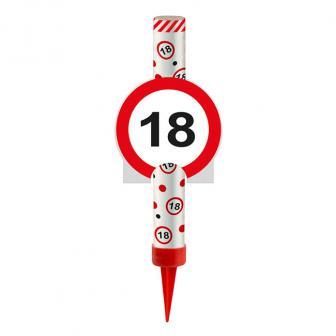 """Bougie étincelle """"Panneau de circulation"""" 12 cm 18. anniversaire"""