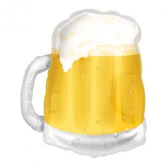 """Ballon en aluminium transparent XL """"Chope de bière"""" 75 cm"""