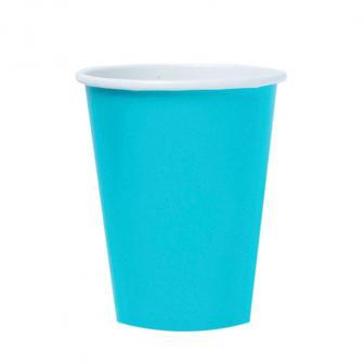 8 gobelets en carton unis 266 ml - turquoise