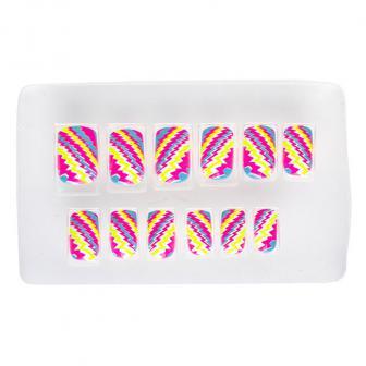 "Ongles lumière UV ""Rayures neon"" 12-pcs."