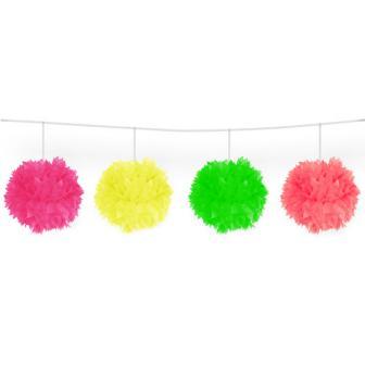 Guirlande de pompons fluorescents en papier gaufré 3 m