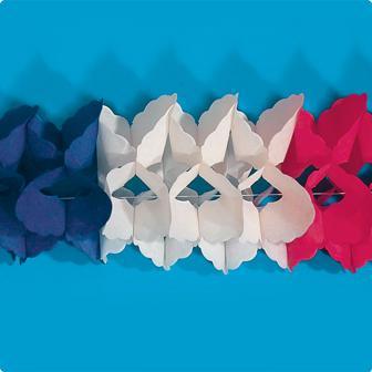 Guirlande en papier bleu-blanc-rouge 4 m