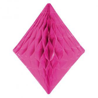 Diamant en papier alvéolé 30 cm - rose vif