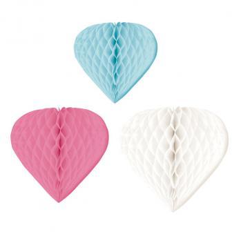 """3 cœurs en papier alvéolé """"Rêve pastel"""""""