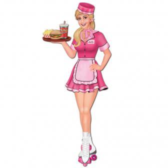 """Déco murale """"American Diner Roller Girl"""" 89 cm"""