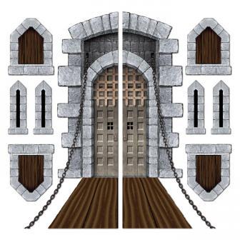 """Déco murale """"Portes, meurtrières & fenêtres de château"""" 9 pcs"""
