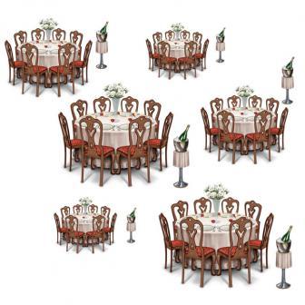 """Déco murale """"Tables garnies pour salle de bal"""" 85 cm 12 pcs"""