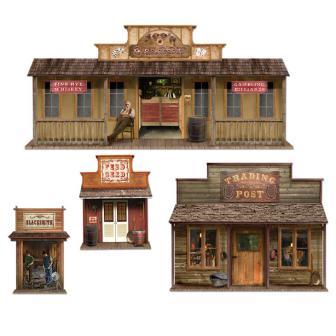 d co murale ville du far west 4 pcs prix minis sur. Black Bedroom Furniture Sets. Home Design Ideas