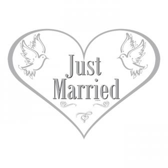 "Déco murale cœur ""Just Married"" 48 cm"