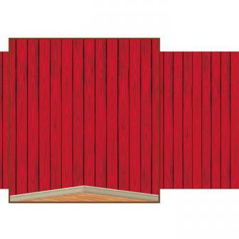 """Déco murale """"Mur de grange rouge"""" 1,2 m x 9,1 m"""