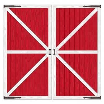 """Déco murale """"Porte de grange rouge"""" 2 pcs"""