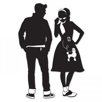 """Déco murale silouhettes """"50's Boy & 50's Girl"""" 93 cm 2 pcs."""