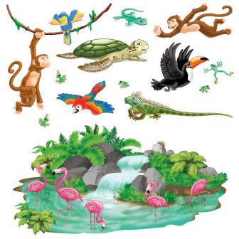 """Déco murale """"Monde tropical des animaux"""" 164 cm 13 pcs"""