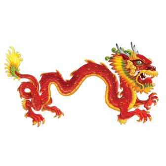 "Déco murale XXL ""Grand dragon chinois"" 1,83 m"