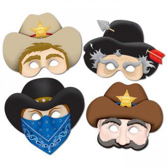 "Masques en carton ""Wild West"" 4 pcs"