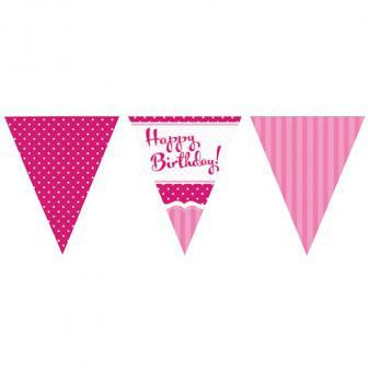 """Guirlande de fanions """"Happy Birthday"""" en papier 370 cm"""