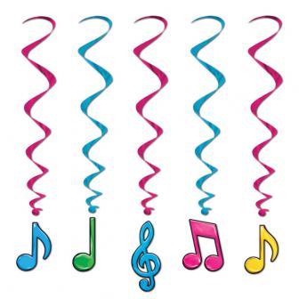 """Suspensions à spirales """"Notes de musique colorées"""" 5 pcs 91 cm"""