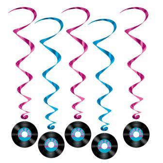 """Suspensions à spirales """"Disque vinyle"""" 102 cm 5 pcs"""